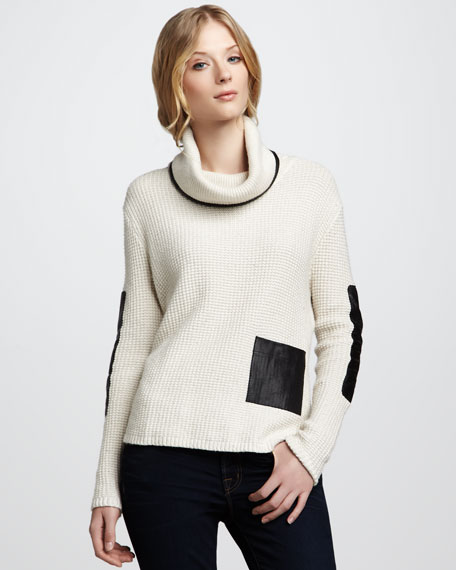 Leather-Pocket Pullover