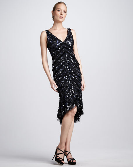 Beaded High-Low Cocktail Dress
