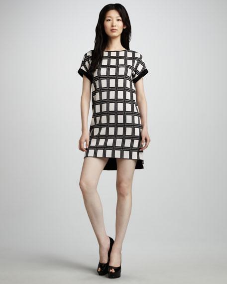 Square-Print Shift Dress