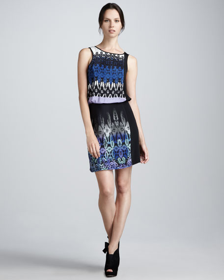 Print-Front Silk Blouson Dress