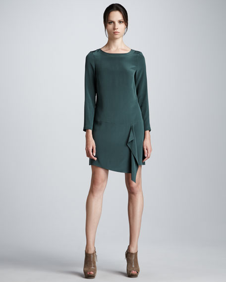 Long-Sleeve Silk Shift Dress