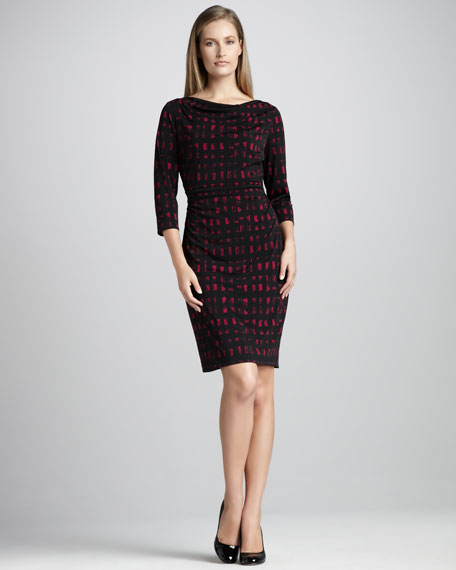 Grid-Print Ruched Dress