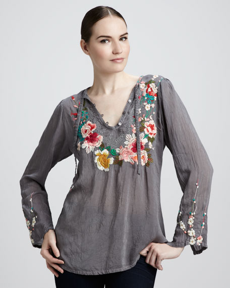 Rose-Embroidered Blouse, Women's