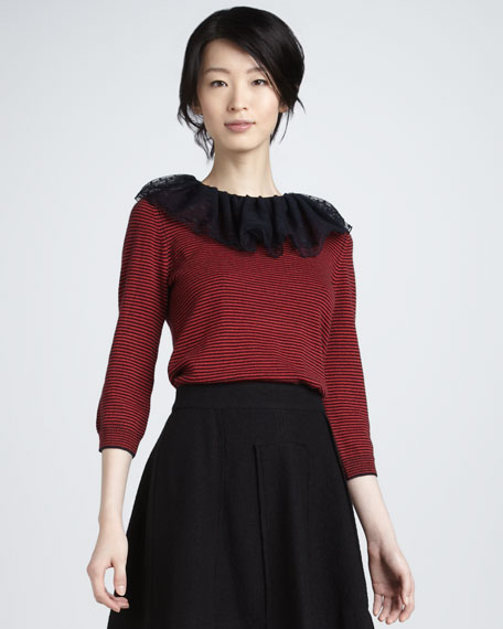 Sonia Chiffon-Collar Sweater