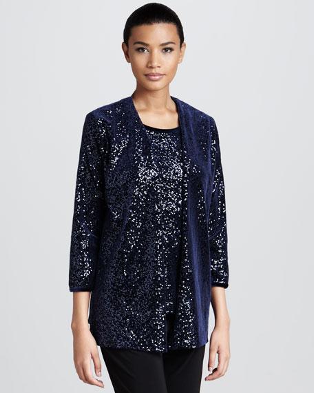Sequined Velvet Jacket, Petite