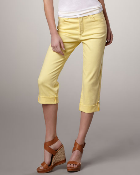 Carmen Button-Cuff Cropped Jeans