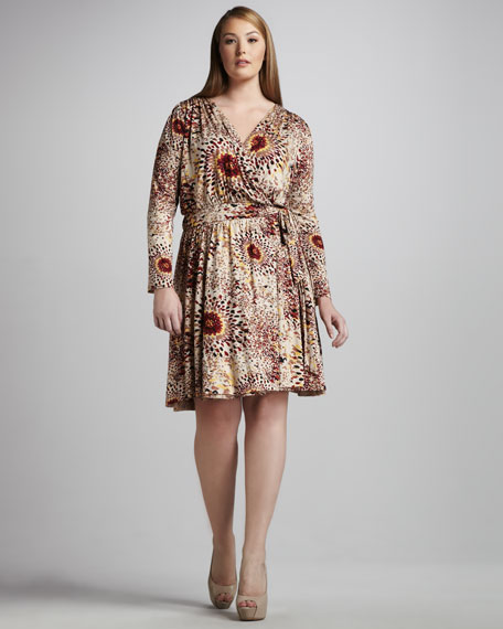 Printed Faux-Wrap Dress, Women's