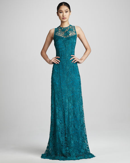 High-Neck Lace Gown