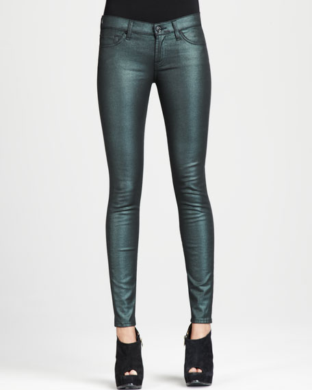 The Skinny Emerald Liquid Metallic Jeans