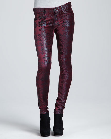 Metallic Chinoiserie Jeans, Burgundy/Gold