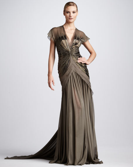 Beaded Chiffon Gown