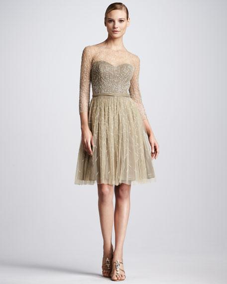Bead-Overlay Cocktail Dress