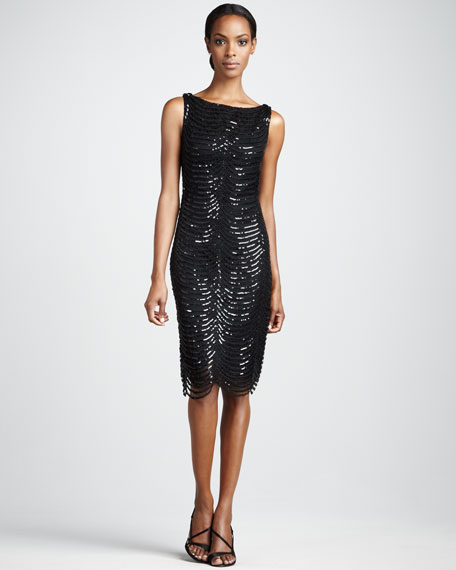 Scallop-Sequin Cocktail Dress
