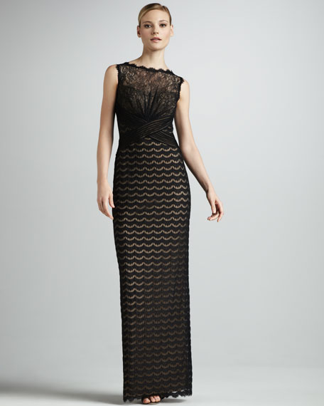 Lace-Bodice Column Gown