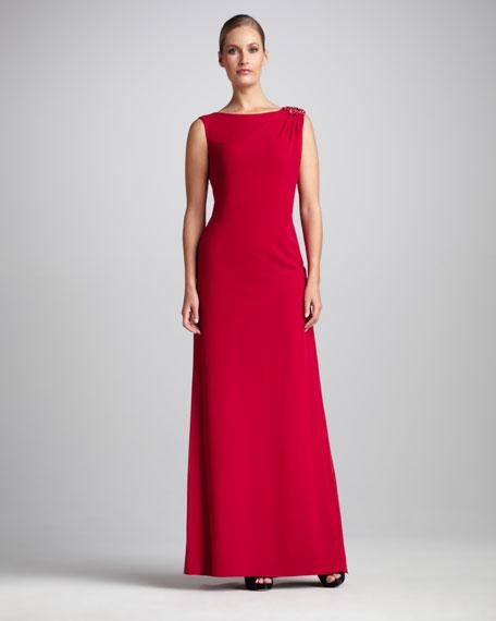 Bead-Shoulder Gown