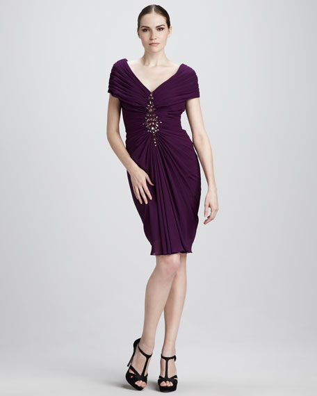 Ruched Silk Cocktail Dress
