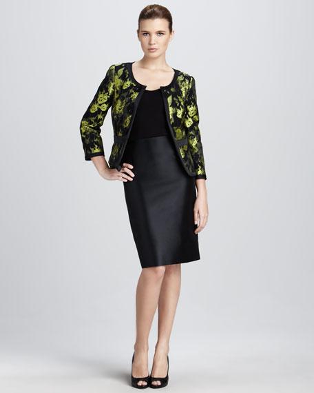 Floral-Jacquard Jacket & Skirt Set