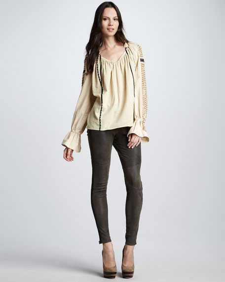 Washed-Leather Skinny Pants
