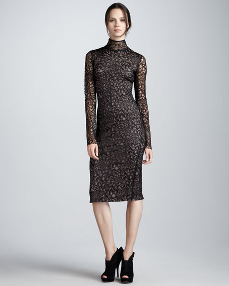 Lydia Long-Sleeve Lace-Overlay Dress
