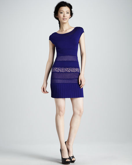 Mix-Pattern Knit Dress