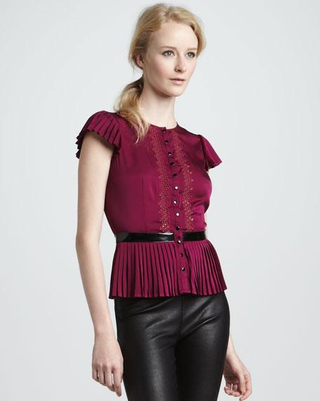 Leather-Waist Silk Top