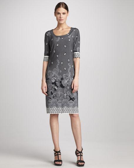 Lace-Print Jersey Dress