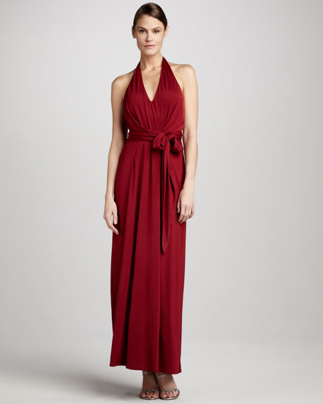 Long Jersey Halter Dress
