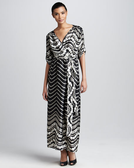 Pearl-Print Maxi Dress