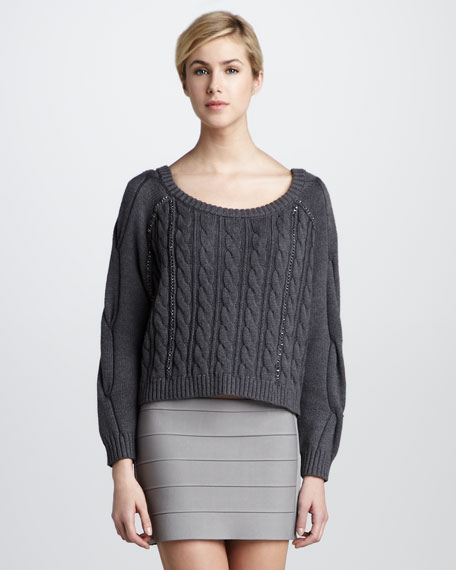 Chain-Trim Cable Sweater