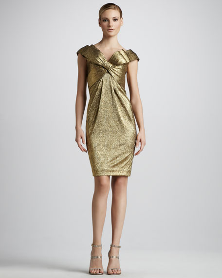 Bow-Front Metallic Cocktail Dress