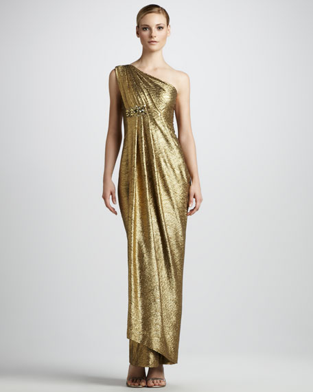 Draped Metallic Gown