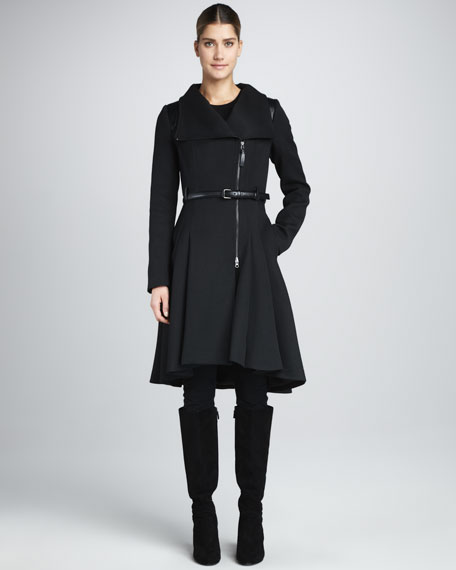 Ginette Skirted Wool Coat