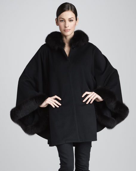 Fur-Trim Cape