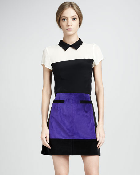 Suede-Panel Leather Skirt