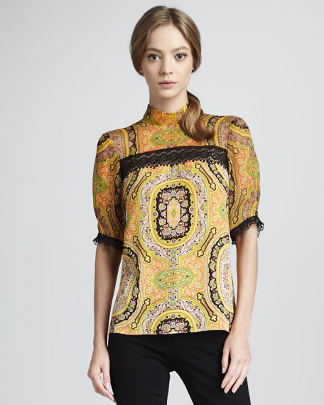 Paisley-Print Top, Goldenrod
