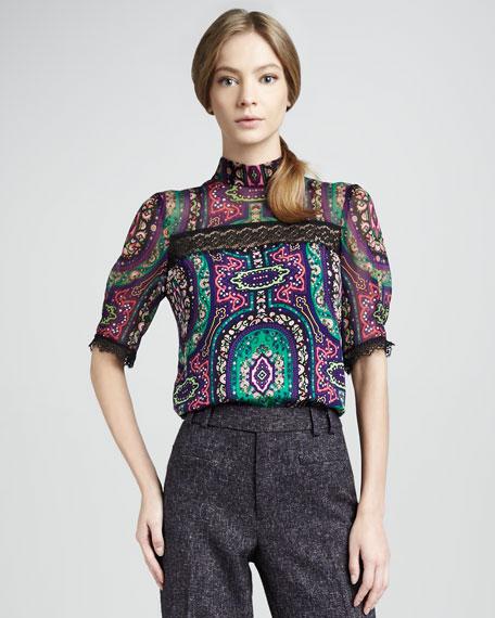 Paisley-Print Top, Iris