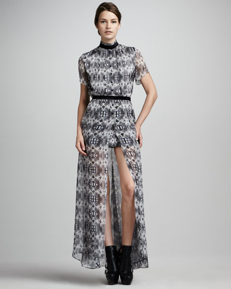Dello Printed Sheer-Skirt Maxi Dress