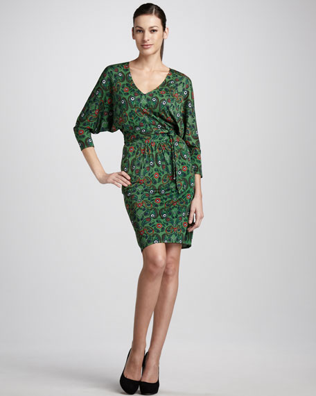 Paisley-Print Tie-Waist Dress