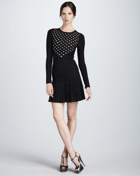 Cutout-Panel Long-Sleeve Dress