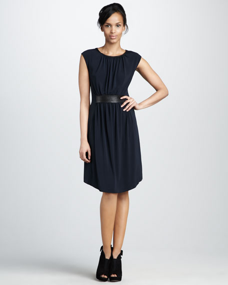 Stretch-Jersey Belted Dress