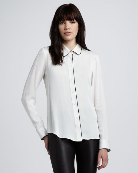 Trimmed Silk Blouse