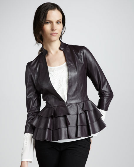 Page Ruffle-Hem Leather Jacket