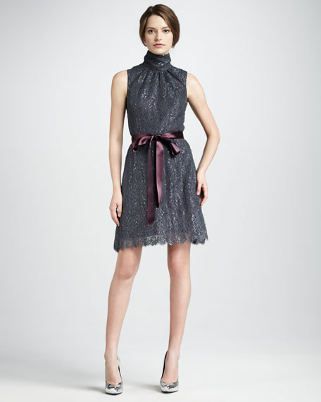 Belted Mock-Neck Lace Dress