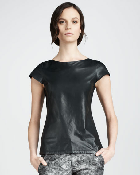 Crystal Leather-Front Top