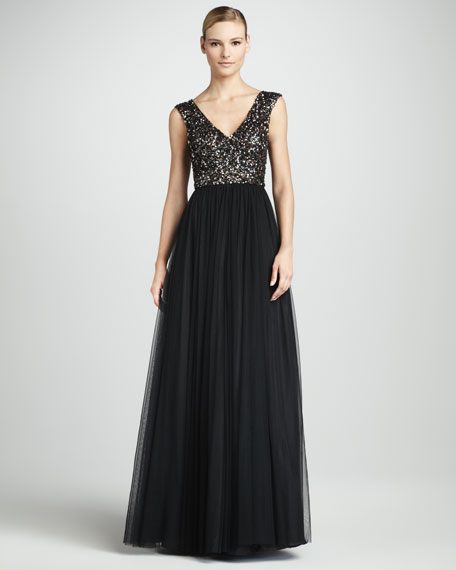 Bead-Top V-Neck Gown