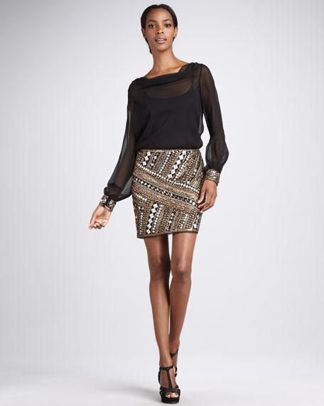 Chiffon/Beaded Combo Dress