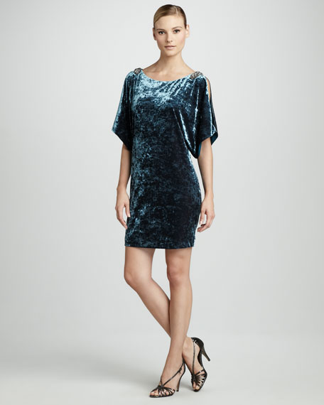 Split-Sleeve Velvet Dress, Women's