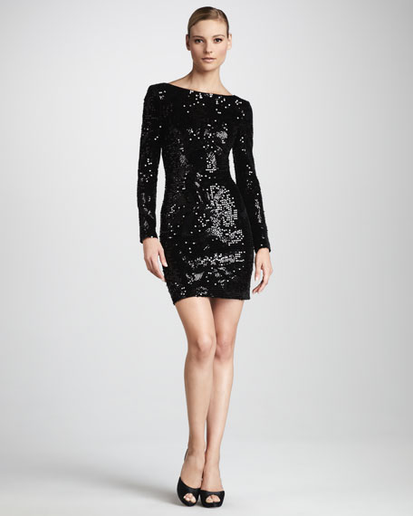 Sequined Velvet Cocktail Dress, Women's