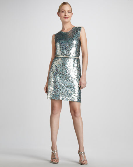 Sequined Illusion-Back Cocktail Dress