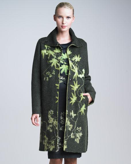 Leaf-Patterned Wool Coat